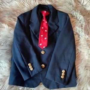 Kids navy blazer with tie size 4